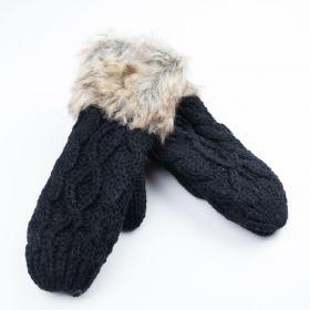 Dámské palčáky rukavice s kožíškem Černé