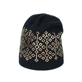ArtOfPolo Dámská čepice s geometric zlatá