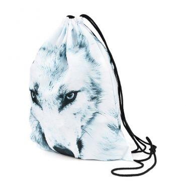 Plátěný vak s 3D potiskem Bílý Vlk