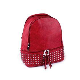 Dámský crossbody batoh s kovovými cvočky Červený