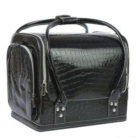 Luxusní kabela pro kosmetiku MODEL07 Černý krokodýl