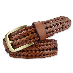 Pánský pletený kožený pásek Tangle Man- hnědý
