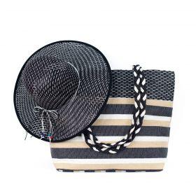 ArtOfPolo Plážový set kabelka s kloboukem Černá