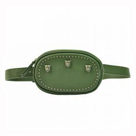 Glamour koženková ledvinka s lebky Zelená