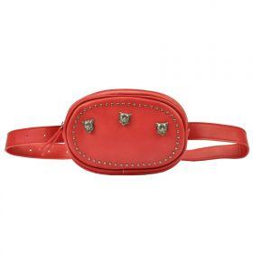 Glamour koženková ledvinka s lebky Červená