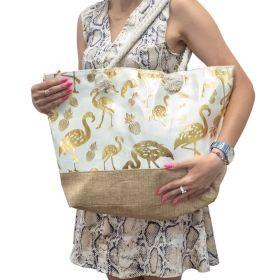 Designová Plážová taška Zlatý plameňák