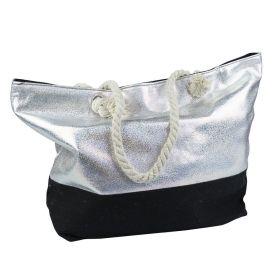Designová Plážová taška Metalická Stříbrná