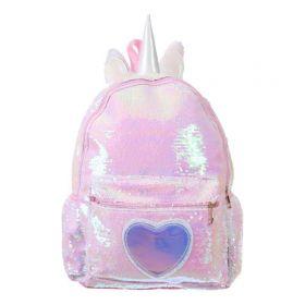 Who Cares flitrový batoh jednorožec Růžový