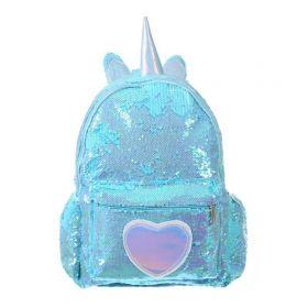 Who Cares flitrový batoh jednorožec Modrý