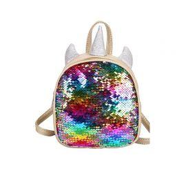 Flitrový zlatý batůžek Jednorožec Color