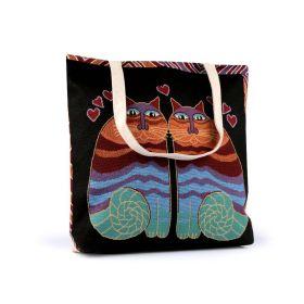 Lněná nákupní nebo plážová taška Kočky