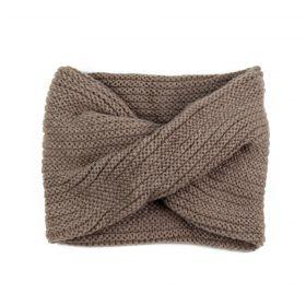Kruhový pletený šál komín Simplicity Hnědý