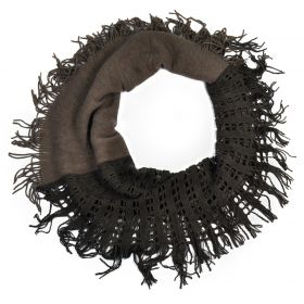 Kruhový pletený šál se štrasem Hnědý