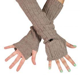 ArtOfPolo dlouhé rukavice bez prstů flip-flop Hnědé