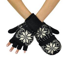 Bezprstové rukavice s klopou Wales Černé