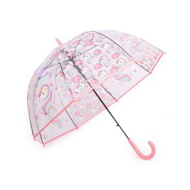 Dívčí průhledný vystřelovací deštník jednorožec Rose