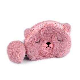 Dětská kožešinová peněženka Medvídek růžový