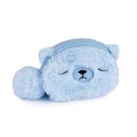 Dětská kožešinová peněženka Medvídek modrý