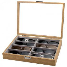 Organizér na sluneční brýle Box na 8ks Dřevěný