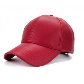 Dámská kožená kšiltovka Červená