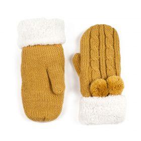 Dámské palčáky rukavice s bambulí Hořčicová