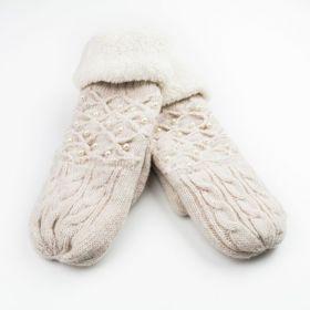 Dámské palčáky rukavice s perly Béžové