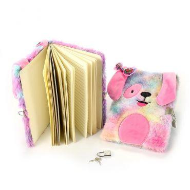 Plyšový deník pejsek se zámkem Růžový
