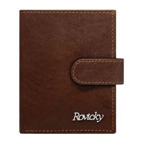 Rovicky kožená peněženka na doklady RFID Hnědá