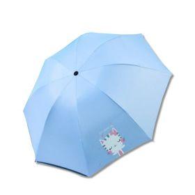 Dívčí skládací deštník Modrý kočička