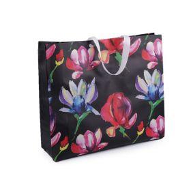 Nákupní taška s květy 48x41 cm velká Černá