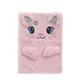 Plyšový zápisník deník A5 Růžová kočička
