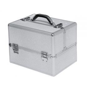COMFORT kosmetický kufr se zirkony Gel lak Stříbrný