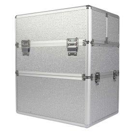 COMFORT dvoupatrový kosmetický kufr se zirkony Stříbrný