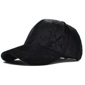 Dámská velvet kšiltovka na culík Černá