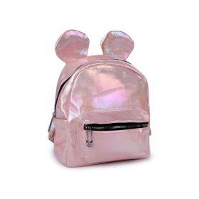 Dívčí batoh s metalickým leskem Medvídek růžový