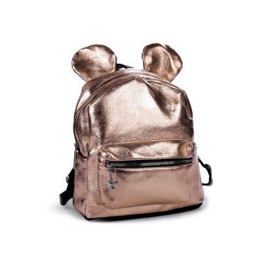 Dívčí batoh s metalickým leskem růžové zlato