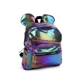 Dívčí batoh s metalickým leskem Medvídek hologram