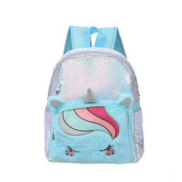 Who Cares flitrový batoh jednorožec Unikorn Modrý