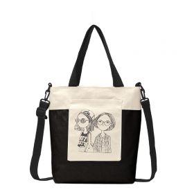 Dámská plátěná kabelka Fashion Nerds Černo-bílá