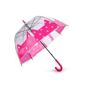 Dívčí průhledný deštník růžová kočka