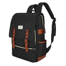 RETRO Textilní batoh s USB portem černý