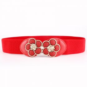 Dámský pásek na šaty s Květinovou přezkou - Červený