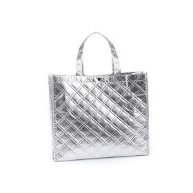 Lesklá metalická taška Střední stříbrná