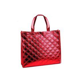 Lesklá metalická taška Střední červená