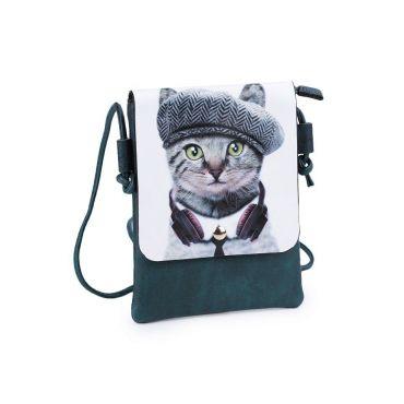 Dívčí malá kabelka s klopou Kočka s baretem