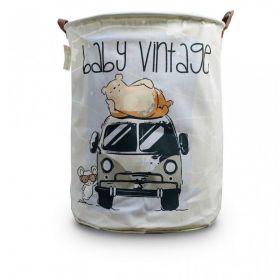 Lněný koš na hračky Bílý Vintage Car