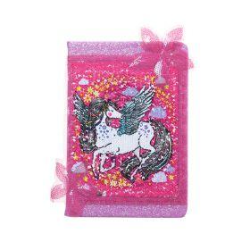 Plyšový zápisník deník s flitry A5 Jednorožec Růžový