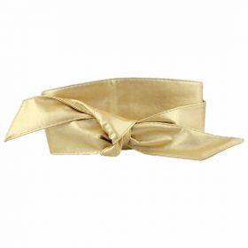 Dámský zlatý široký pásek z umělé kůže