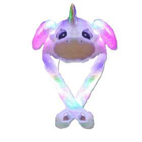 Plyšová LED čepice Funky Animal Jednorožec