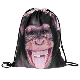 Plátěný vak s 3D potiskem Šimpanz